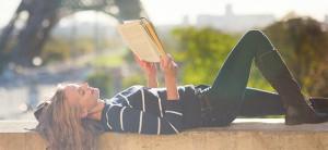 Reading book in Paris